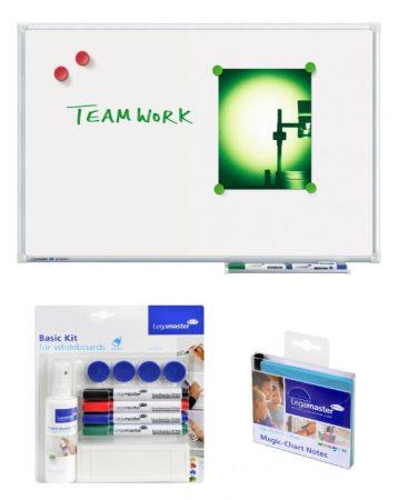 Tablă albă ECONOMY 90x60 cm și kit de bază pentru tablă albă+ Magic- Chart Notes cadou!